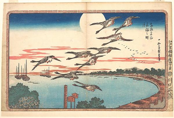 Takanawa no Meigetsu<br/>東都名所 高輪之明月<br/>Full Moon at Takanawa