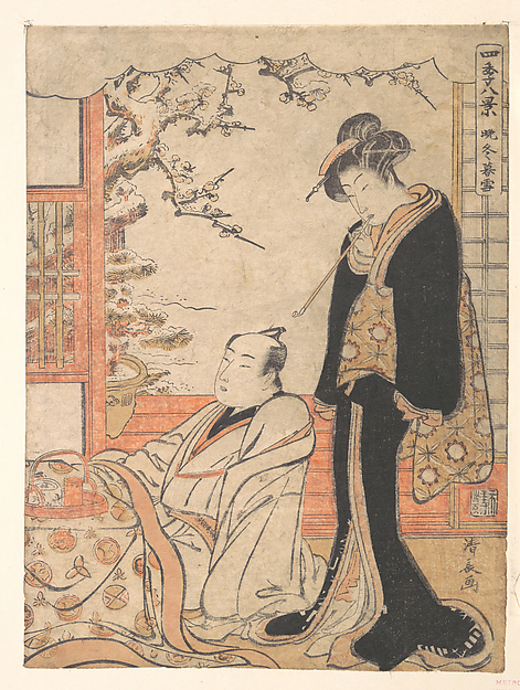 Fascinating Historical Picture of Torii Kiyonaga with Evening Snow at Banto in 1779