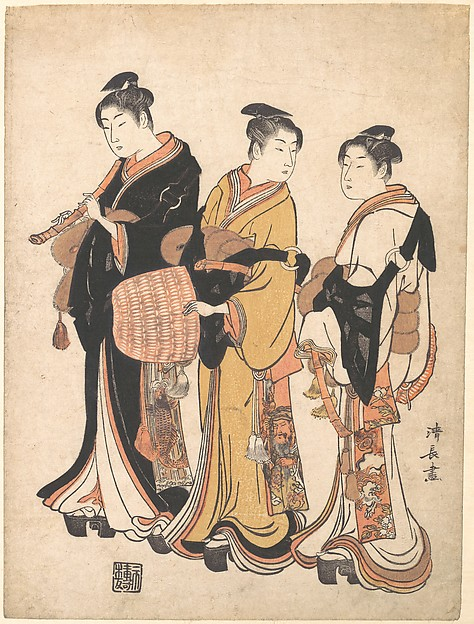 Fascinating Historical Picture of Torii Kiyonaga with Three Young Women Masquerading as Komuso (Strolling Minstrel) in 1778