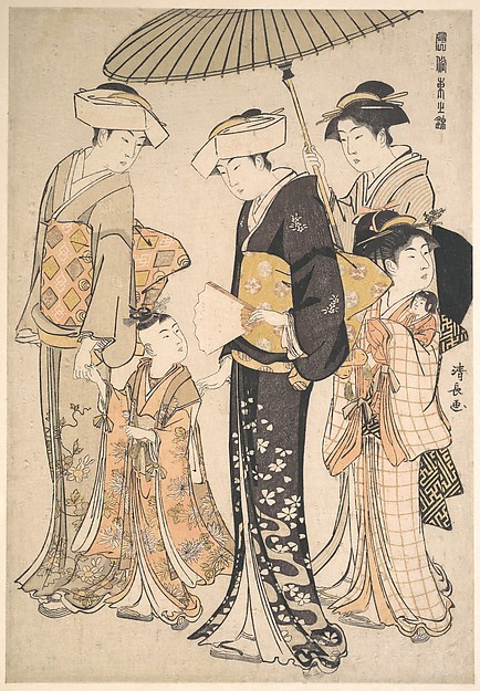 "Presenting Children at a Shrine, from the series, ""Popular Brocades of the East"" (Fuzoku Azuma no Nishiki)"