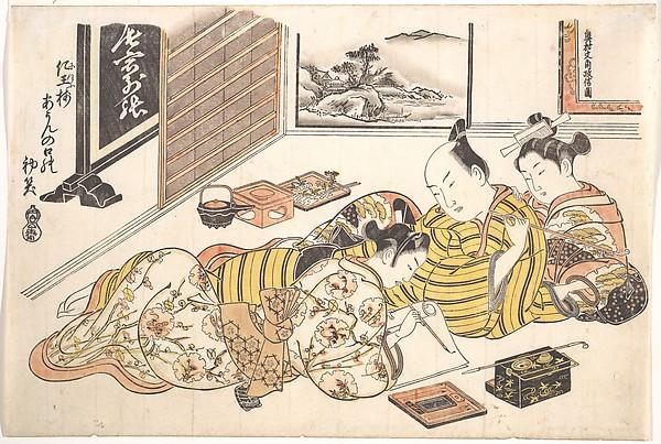 『閨の雛形』 正月<br/>Plate from the Erotic Book Mounds of Dyed Colors: A Pattern Book for the Boudoir (Someiro no yama neya no hinagata), First Month