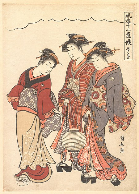 Fascinating Historical Picture of Torii Kiyonaga with Two Geisha Preceded by a Maid Carrying a Lantern in 1778