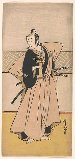 Fascinating Historical Picture of Katsukawa Shunk with The Actor Ichikawa Omezo as a Samurai with Two Swords in 1743