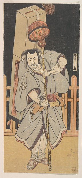 The First Nakamura Nakazo as a Rokuju-rokubu Standing at Night