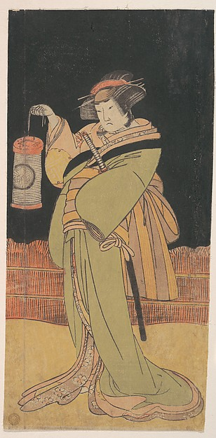 This is What Katsukawa Shunsh and The Second Yamashita Kinsaku as a Woman Standing at Night Looked Like  in 1779