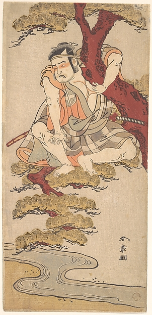 The Actor Otani Hiroemon III Watching from the Branches of a Pine Tree Overhanging a Stream