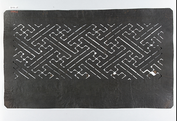 Stencil with Continuous Fret Pattern (sayagata)
