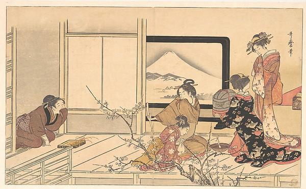 """喜多川歌麿画 『男踏歌』 鶯の餌すり <br/>""""Preparing Food for the Warbler,"""" from the album Men's Stamping Dance (Otoko dōka, uguisu no esa suri)"""