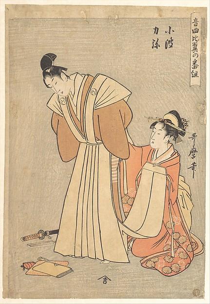 音曲比翼の番組 小波 力弥<br/>Rikiya and Konami, from the series  A Program with Music about Loving Couples (Ongyoku hiyoku no bangumi)