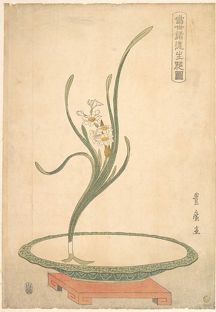 Flower Arrangement of Suisen (Narcissus) in a Flat Green Dish