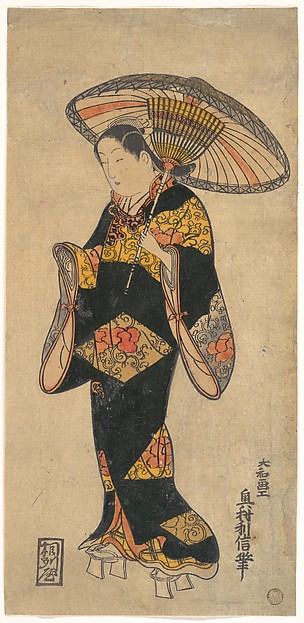 This is What Okumura Toshinobu and Actor (Sanjo Kantaro?) in the Role of a Courtesan Looked Like  in 1728