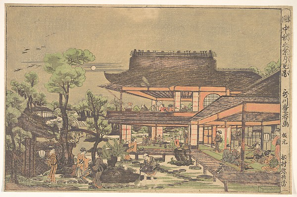 "Tea–house; Scene entitled: ""Viewing the Moon in mid–autumn"""
