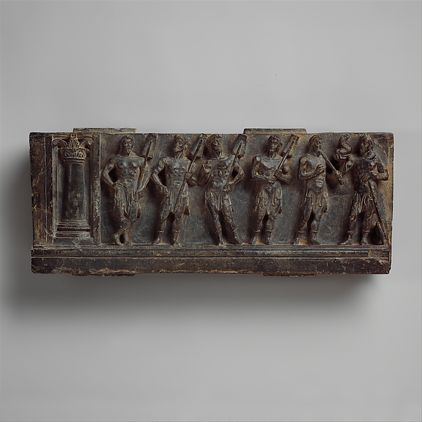 Stair Riser with Marine Deities or Boatmen