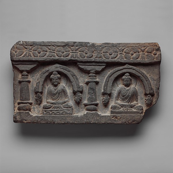 Frieze with Two Seated Buddhas