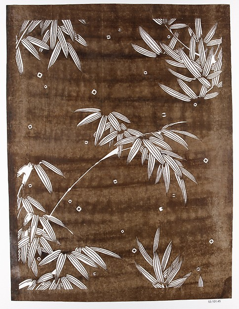 Stencil with Bamboo and Falling Snow