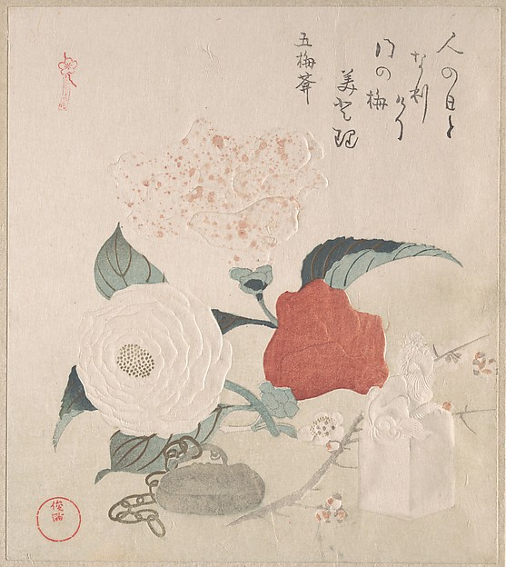 Camellia Flowers, a Netsuke and a Seal