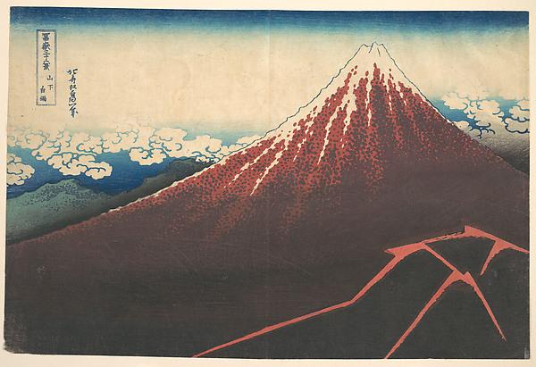 Storm below Mount Fuji (Sanka no haku u), from the series Thirty-six Views of Mount Fuji (Fugaku sanjūrokkei)