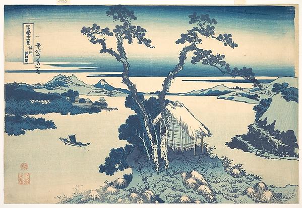 冨嶽三十六景 信州諏訪湖 <br/>Lake Suwa in Shinano Province (Shinshū Suwako), from the series Thirty-six Views of Mount Fuji (Fugaku sanjūrokkei)