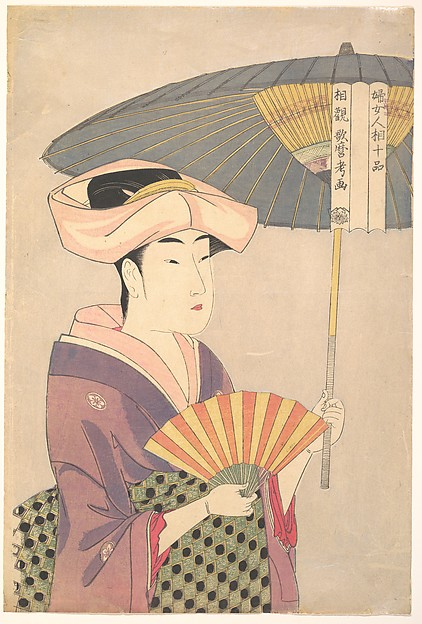 "婦女人相十品 相観<br/>""Woman Holding Up a Parasol"" from the series Ten Classes of Women's Physiognomy (Fujo ninsō juppen: Higasa o sasu onna)"