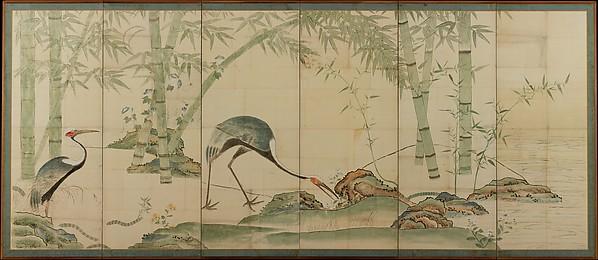 尾形光琳筆 松竹に鶴図屏風<br/>Cranes, Pines, and Bamboo