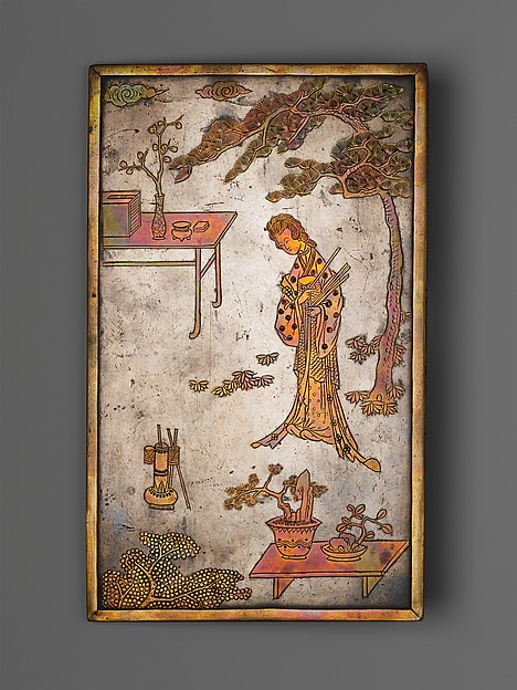Table Screen with Woman Playing Touhu