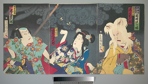 東海寄談音児館<br/>Onoe Kikugorō V as Otowake Neko no ke (Right), Bandō  Mitsugorō  IV as Aishō Michinoku (Center), Onoe Kikugorō V as Isogai Mibunosuke (Left) in the Kabuki play Tōkai Kidan Nekomata Yashiki