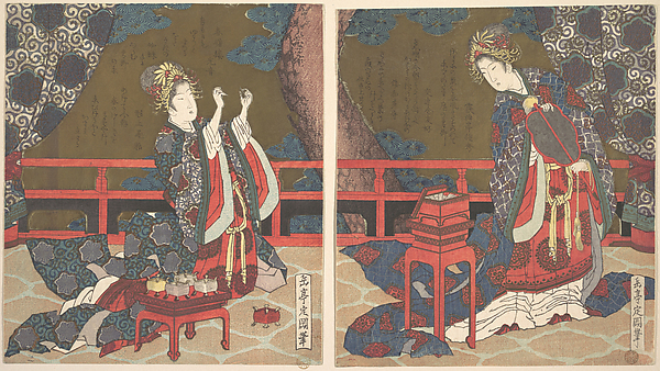 Two Ladies on a Verandah, One with Fan, the Other Threading a Needle