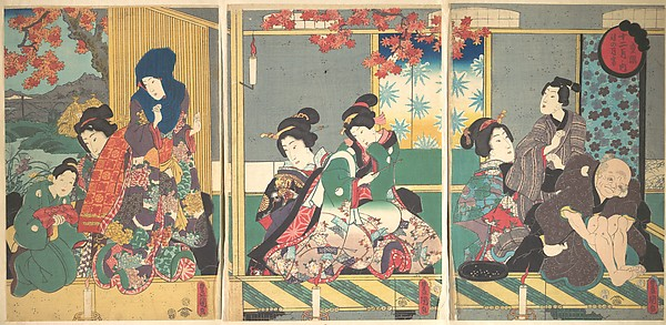 Banquet of the Next Full Moon at the Chrysanthemum Festival, from the series The Twelve Months (Chōyō nochi no tsuki no en, Jūni tsuki no uchi)