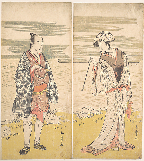 Fascinating Historical Picture of Katsukawa Shunj with The Fourth Matsumoto Koshiro as a Man Dressed in a Short Kimono in 1779