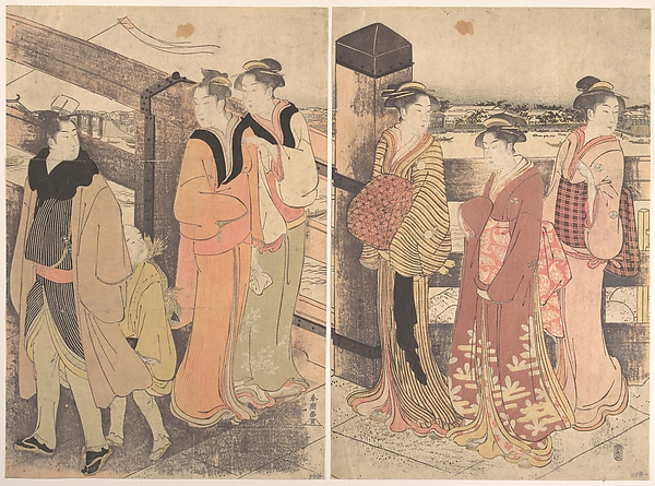 A Group of Women, One Man and a Boy on a Bridge