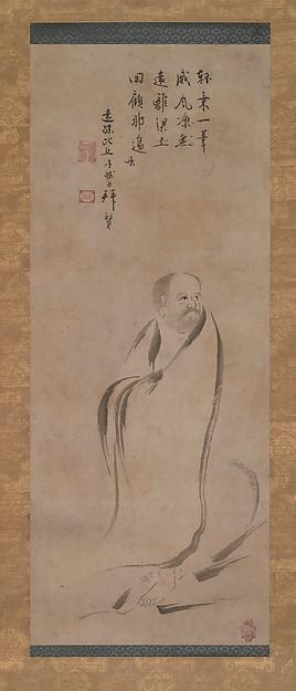 芦葉達磨図<br/>Bodhidharma Crossing the Yangzi River on a Reed