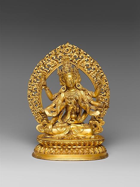清 黃銅鎏金尊勝佛母像<br/>Buddhist Deity, Ushnishavijaya (Zun Sheng fo mu)