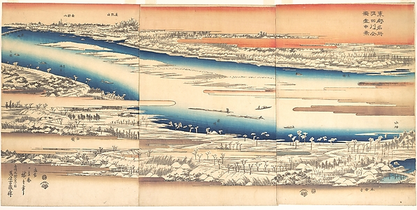 Toto meisho Sumidagawa zenzu settchukei<br/>東都名所 隅田川全図雪中景<br/>Celebrated Places in the Eastern Capital: Panoramic View of the Sumida River in Snow