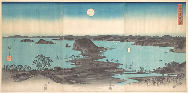 雪月花 武陽金沢八勝夜景<br/>Panorama of the Eight Views of Kanasawa under a Full Moon