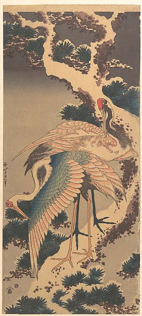 雪松に鶴<br/>Cranes on Branch of Snow-covered Pine