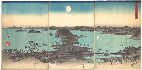 Buyō Kanazawa Hasshō Yakei<br/>雪月花 武陽金沢八勝夜景<br/>Full Moon at Kanazawa, Province of Musashi