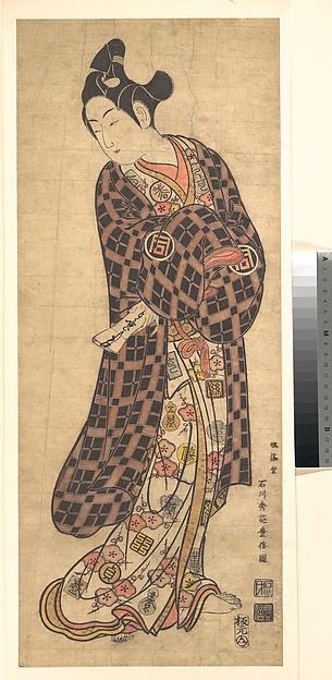 Fascinating Historical Picture of Ishikawa Toyonobu with The Actor Sanogawa Ichimatsu I Standing in 1743