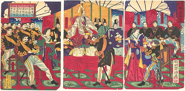 勲功之将天杯賜之図<br/>Illustration of the Honored Commanders, Receiving the Emperor's Gift Cup (Kunkō no shō tenpai o tamau no zu)