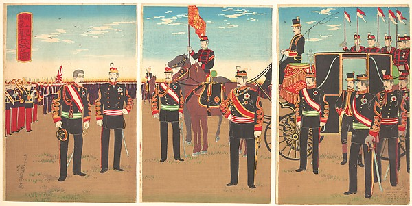 Illustration of  Emperor's Military Review of a Parade Ground at Aoyama (Aoyama renpeijō kanpeishiki no zu)