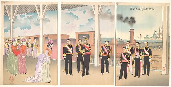 Illustration of the Arrival of the Emperor at Shinbashi Station Following a Victory (Gaisen Shinbashi stēshon gochaku no zu)
