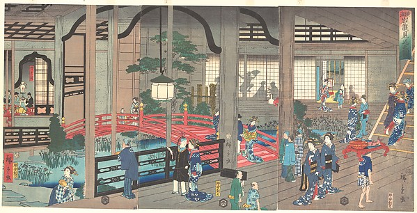 Fascinating Historical Picture of Suzuki Hiroshige II with The Interior of the Gankiro Tea House in Yokohama on 4/15/0