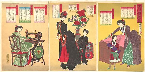 『女官洋服裁縫之図』<br/>Court Ladies Sewing Western Clothing  (Jokan yōfuku saihō no zu)