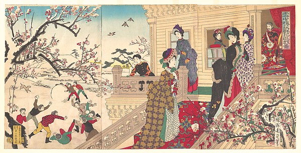 『雪中梅荘群児遊戯 図』<br/>Children Playing in the Snow under Plum Trees in Bloom  (Secchū  baisō gunji yūgi zu)