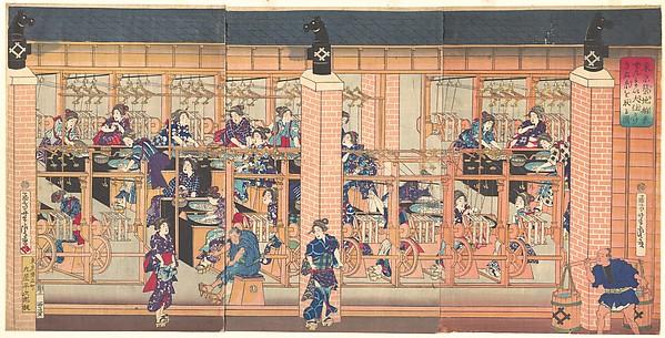『東京築地舶来ぜんま い大仕かけきぬ糸をとる図』 <br/>Imported Silk Reeling Machine at Tsukiji in Tokyo