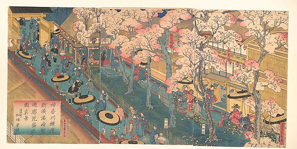 Kanagawa Yokohama shinkei Miyozaki-chō[...]rō hanazukishi no zu<br/>True View of the Pleasure Quarters with Cherry Blossoms in Full Bloom in the Miyozki District of the New Port of Yokohama, Kanagawa