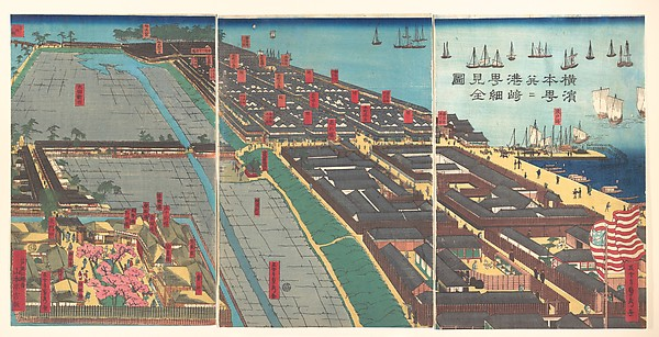 Yokohama Hon-chō...ni Miyozaki...kenkin zu<br/>Detailed Print of Yokohama Hon-chō and the Miyozaki Pleasure Quarter