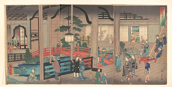 Yokohama Gankirō no zu<br/>View of the Interior of the Gankirō Tea House in Yokohama