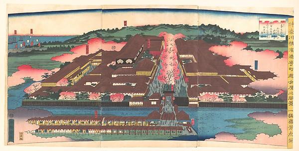 神奈川横浜港崎町遊女屋光景<br/>View of the Miyozaki Brothel District in Yokohama, Kanagawa (Kanagwa Yokohama Miyozaki machi yūjoya kōkei)