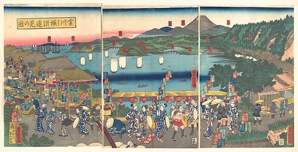 A Distant View of Yokohama from Kanagawa (Kanagawa yōri Yokohama...ken no zu)