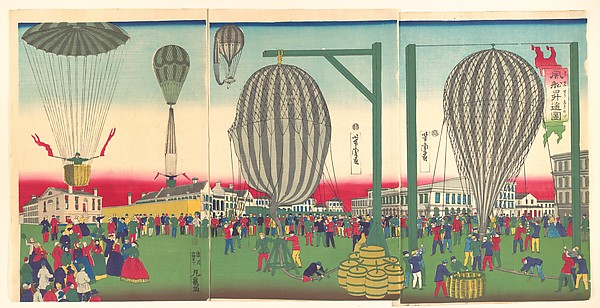Fascinating Historical Picture of Utagawa Yoshitora with Illustration of a Balloon Ascending (Fsen shy no zu) on 11/15/1872